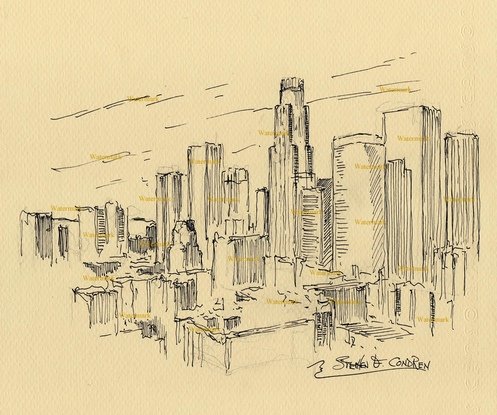 975x814 Los Angeles Skyline Pen Amp Ink Drawing Of Downtown District