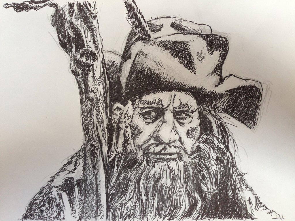 1024x768 Ink Drawing Lord Of The Rings Radagast The Brown By Barbarian J