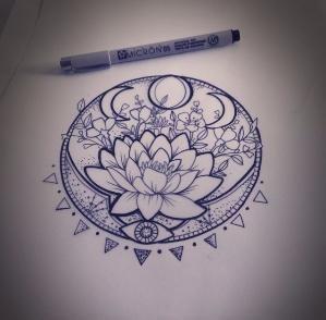 299x294 Pretty Lotus Flower Tattoo Idea