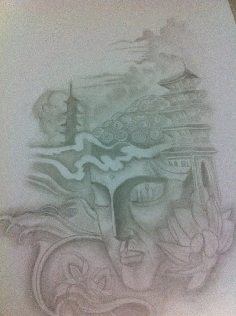 772x1034 Buddha And Temple With Lotus By J0oey
