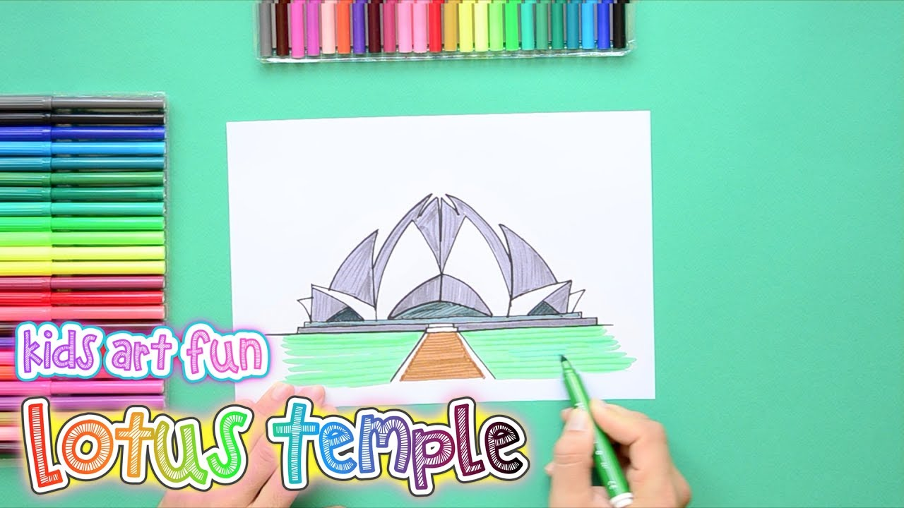 1280x720 How To Draw And Color The Lotus Temple, New Delhi