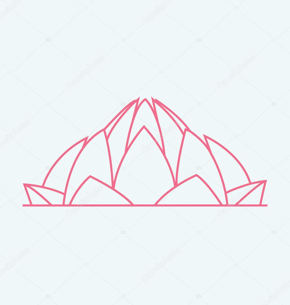 972x1023 Lotus Temple In India Colored Vector Illustration Stock Vector