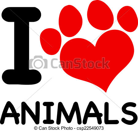 450x426 I Love Animals Text Red Paw I Love Animals Text