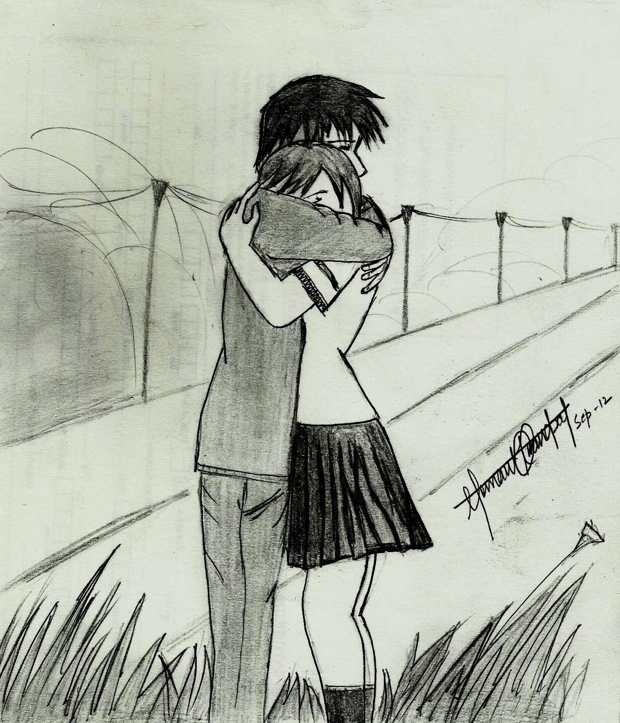 1273x1485 art drawing pencil romantis anime sad pencil drawing images