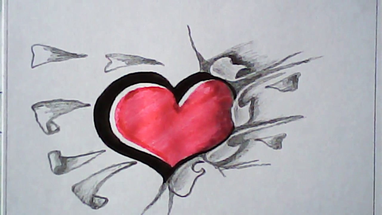 1280x720 How To Draw 3d Love Shape Easy Design And Art Mazic Writer