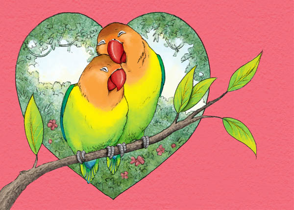 400x317 colored pencil drawing 1 600x429 jennifer e morris love birds tutorial