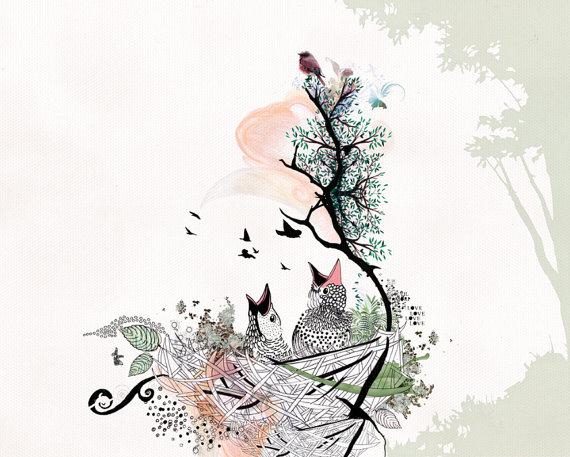 570x457 Love Birds Art Birds Drawing Pen And Ink Art Bird