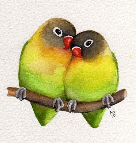 450x473 Watercolor Lovebirds
