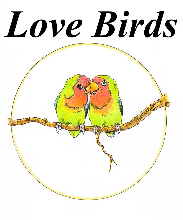 749x900 Love Birds Drawing By Richard Brooks