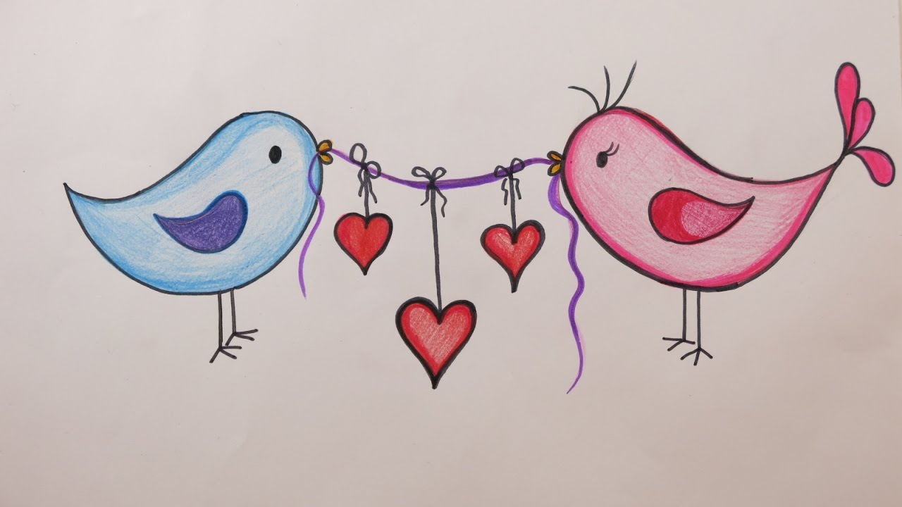 1280x720 Valentine's Day Diy How To Draw Love Birds Holding Hearts