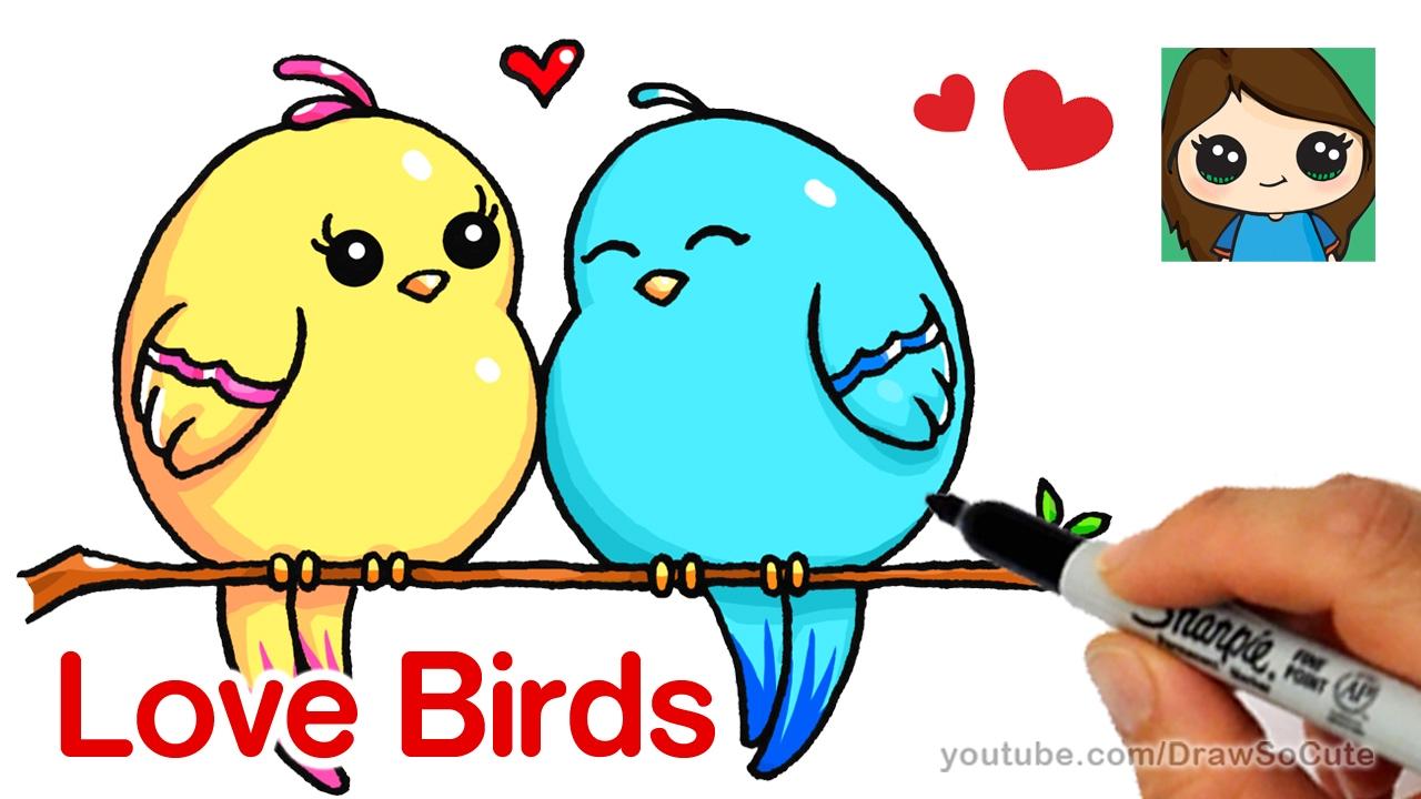 1280x720 How To Draw Cartoon Love Birds Easy