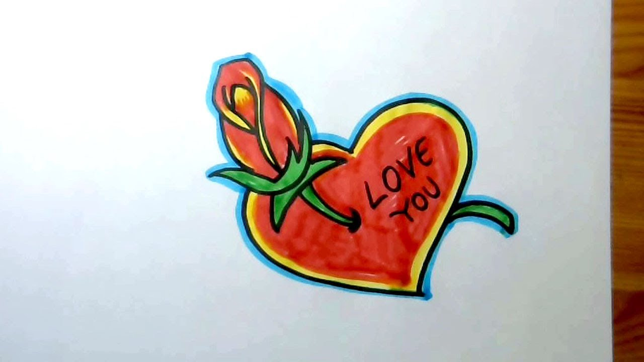 1280x720 How To Draw A Beautiful Heart And Rose Love Drawing