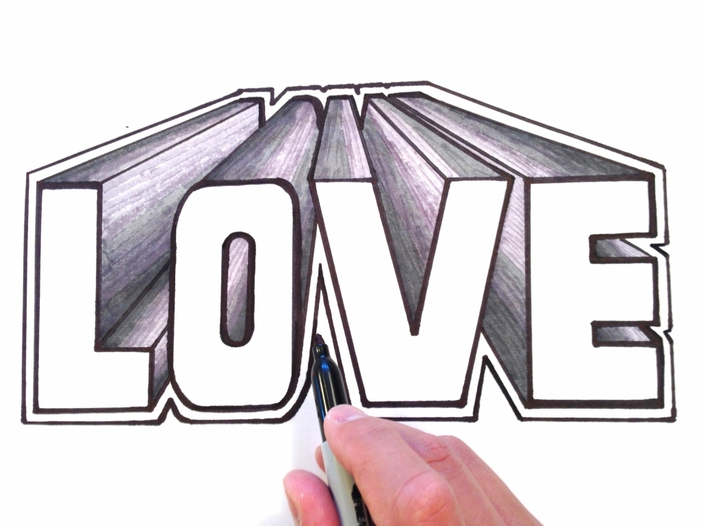 Love In 3d Drawing At Getdrawings Com Free For Personal Use Love