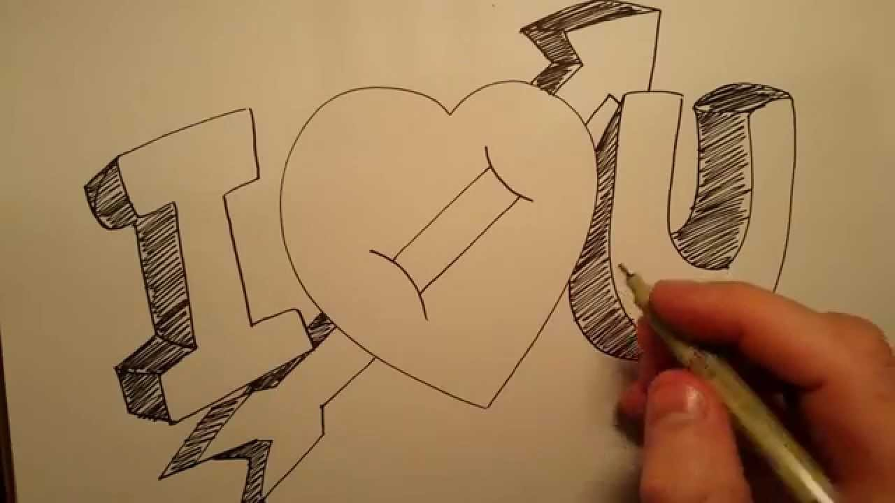 1280x720 How To Draw I Love You With Heart Basic Drawing Skills Series