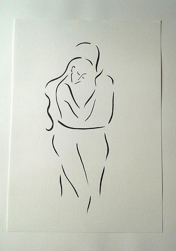 570x814 Lovers Drawing. Art For Bedroom. Abstract Embrace Sketch. Man