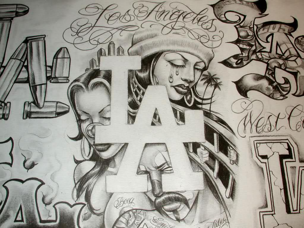 1024x768 Wallpaper Gangsta Draw Lowrider Arte Magazine Gangsters Gangster