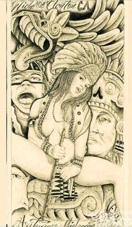 422x726 Aztec Drawing Lowrider Arte Art Is Not A Crime