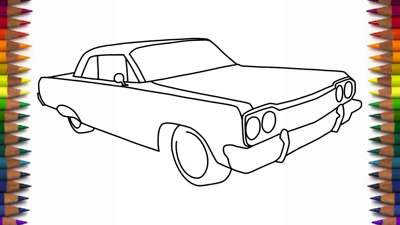 1280x720 How To Draw A Car 1964 Chevrolet Impala Step By Step For Beginners