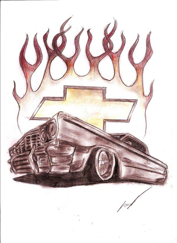 600x825 Chevrolet Impala Tattoo By Lowrider Girl