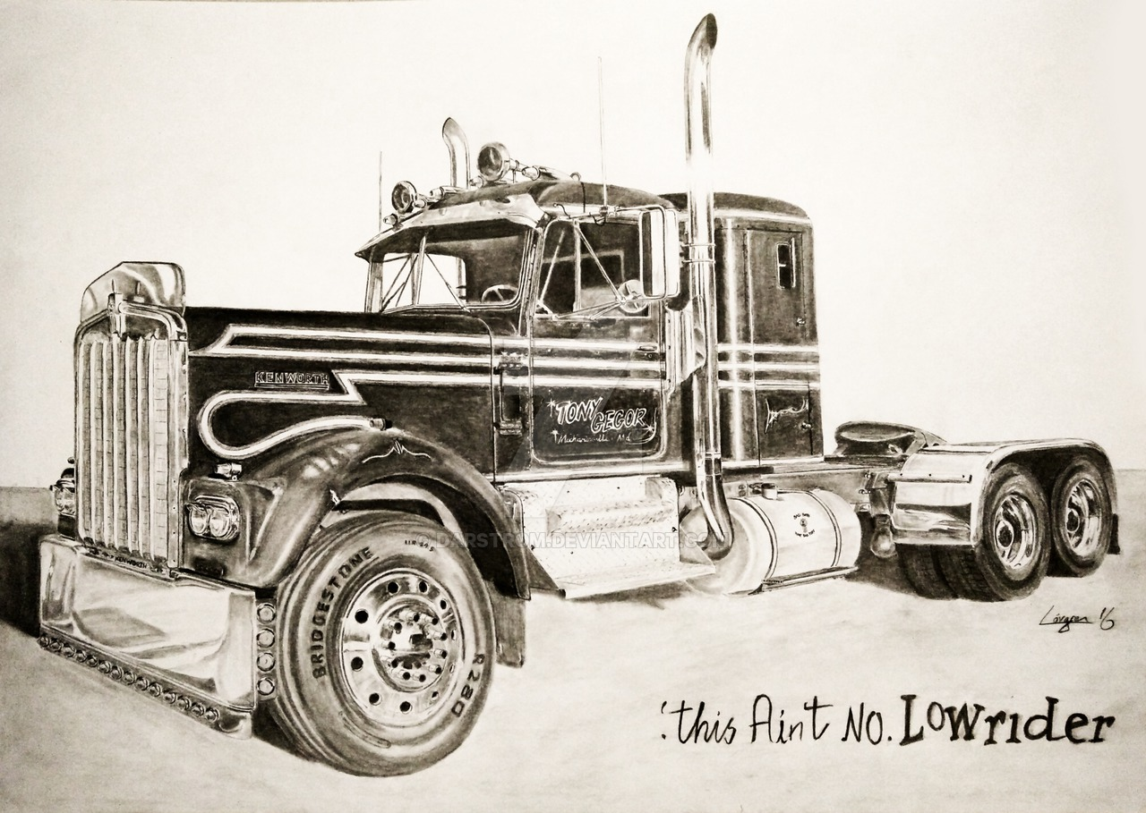 1280x909 1965 Autocar Over The Top Truck Drawing By Darstrom