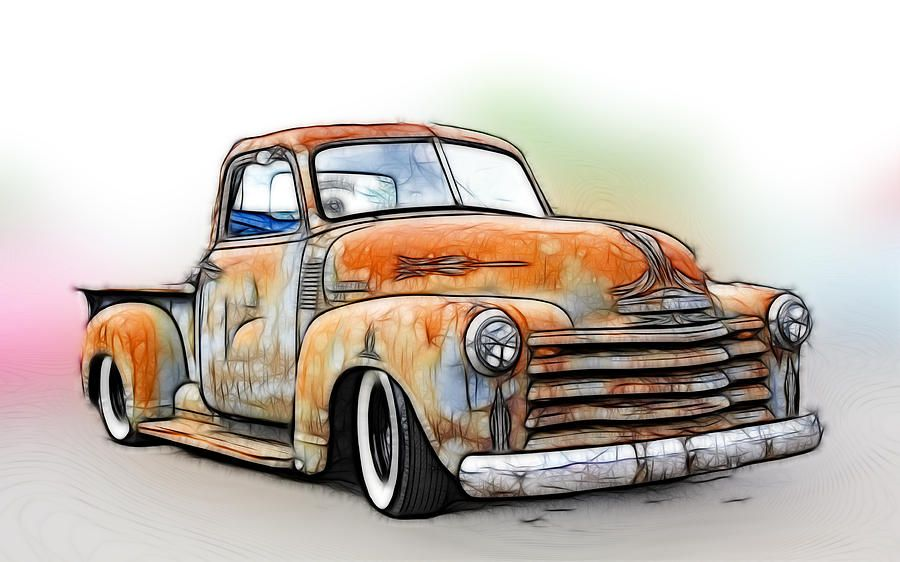 900x562 1950 Chevy Truck By Steve Mckinzie Drawings Cars