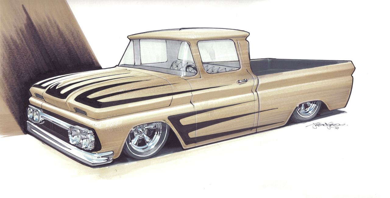 1280x651 Lowrider Truck Drawings Drawn Truck Hot Rod Truck