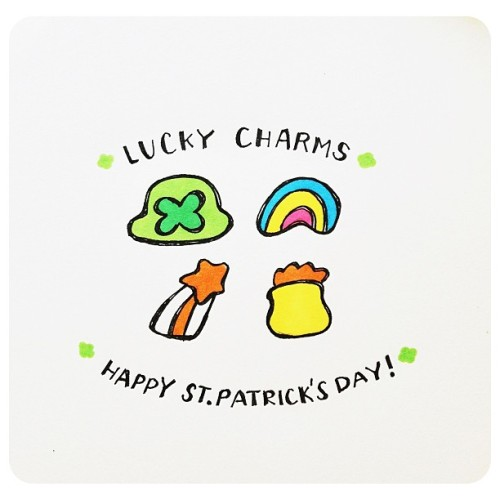 500x500 Drawing Rainbow Green Doodle Luck Marshmallows Clovers
