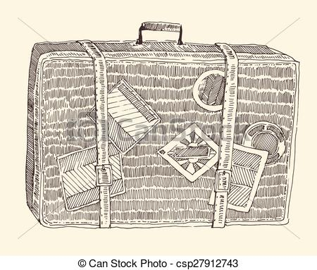 450x383 Vintage Suitcase Sketch Eps Vector Of Suitcase Luggage Engraved