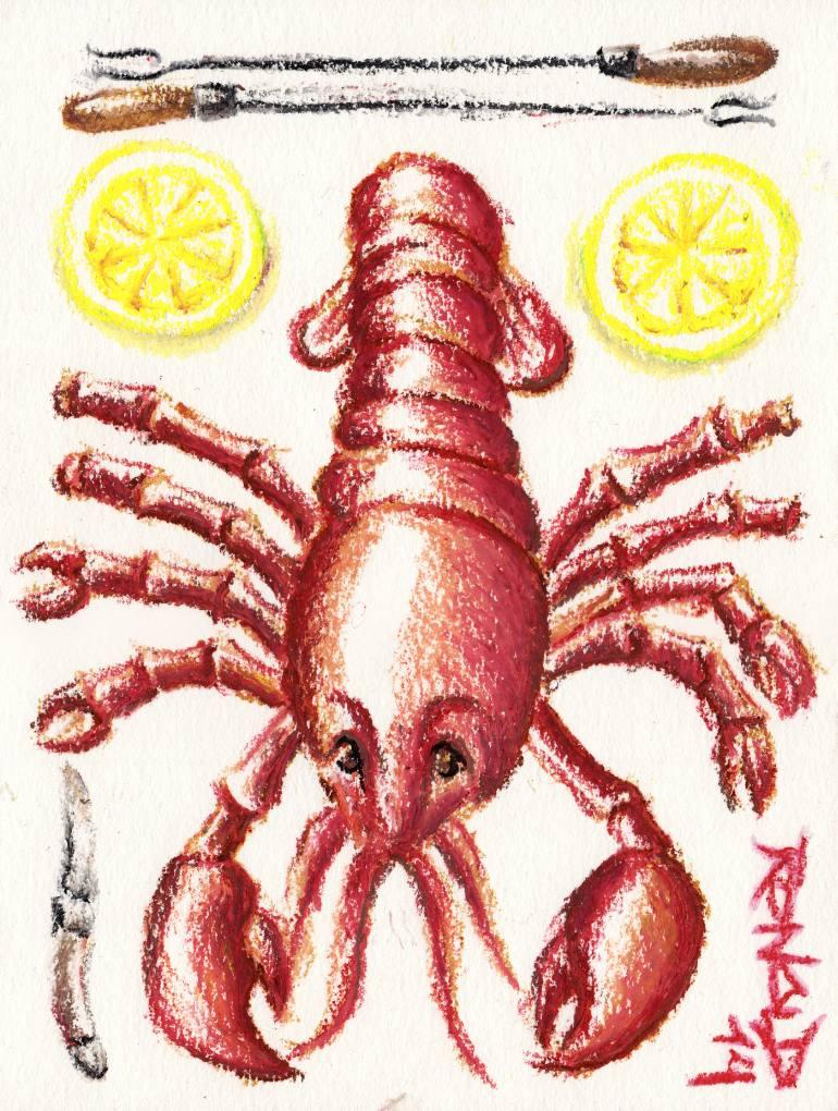 770x1020 Saatchi Art Lobster Lunch Drawing By Ronald Van Den Boogaard