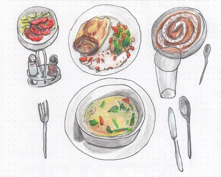 770x616 Saatchi Art Lunch Drawing By Marta Tuta