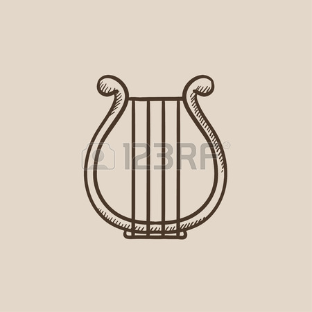 450x450 Lyre Vector Sketch Icon Isolated On Background. Hand Drawn Lyre