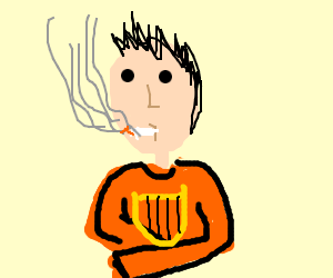 300x250 Smokin' Guy With Lyre (Drawing By Mia Dmytrenko)