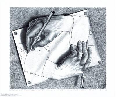400x333 Drawing Hands Art Print By M. C. Escher