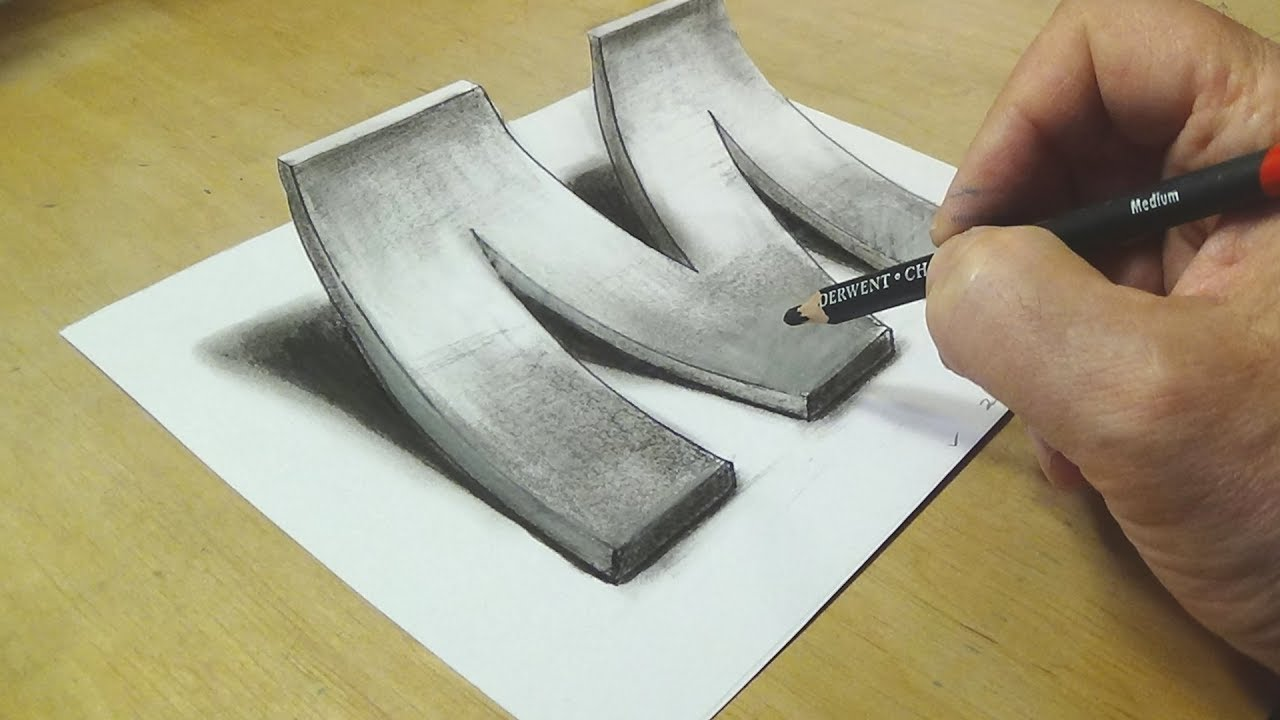 1280x720 How To Draw 3d Letter M