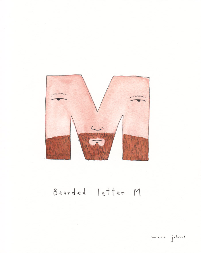 700x882 Bearded Letter M