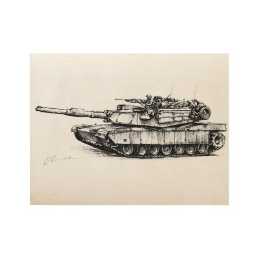 512x512 M1 Abrams Main Battle Tank Drawing Wood Poster Battle Tank