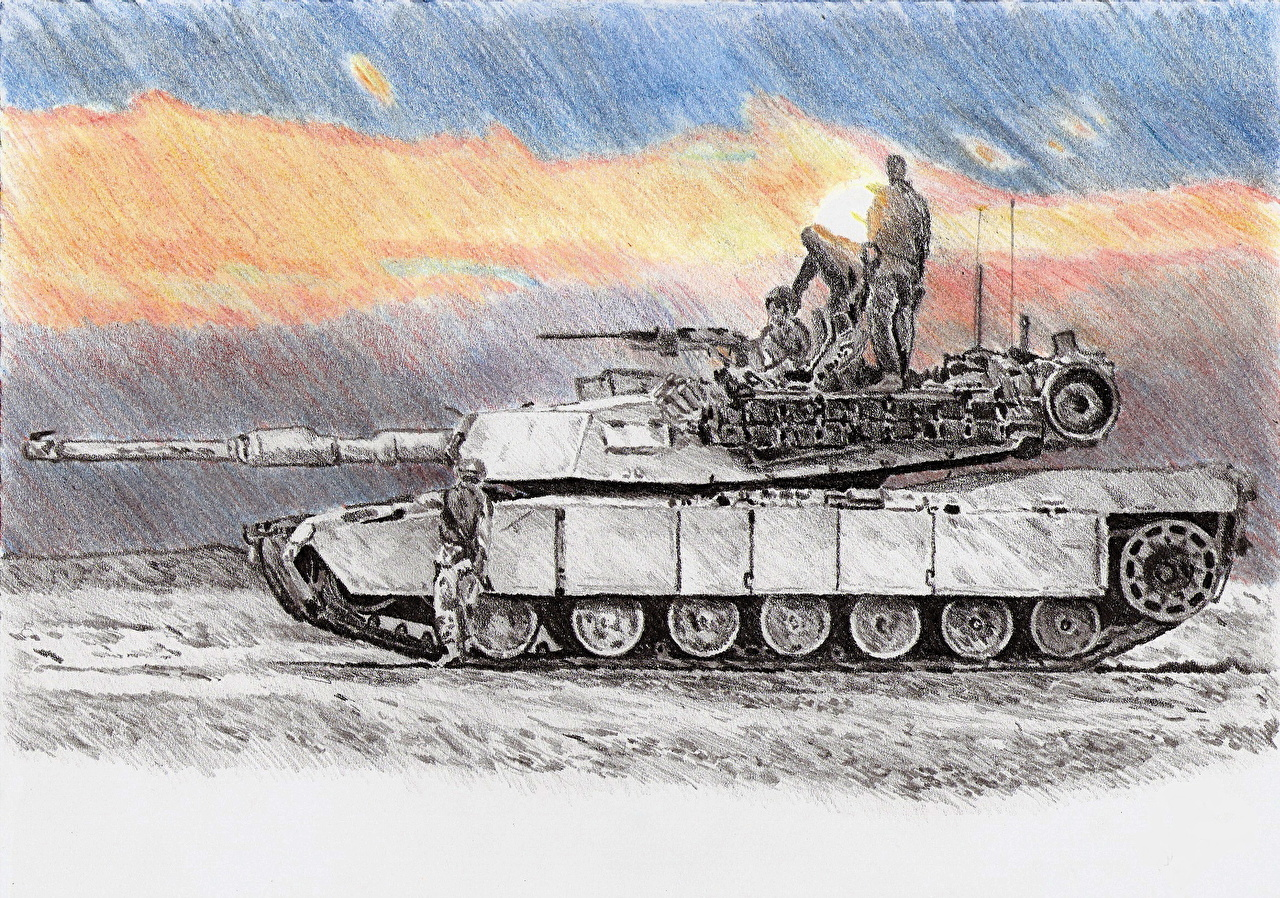 1280x898 Photo M1 Abrams Tanks American In Iraq Painting Art Army