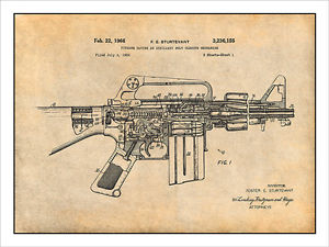 300x225 Ar 15 Assault Rifle M16 Patent Print Art Drawing Poster Ebay