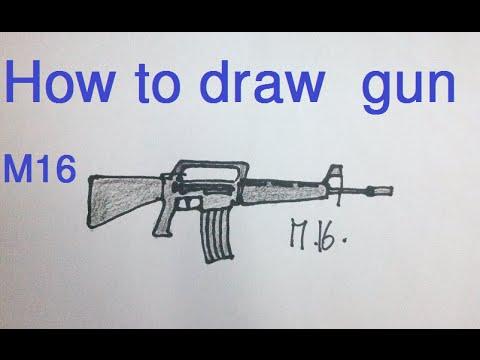 480x360 How To Draw Gun (M16)
