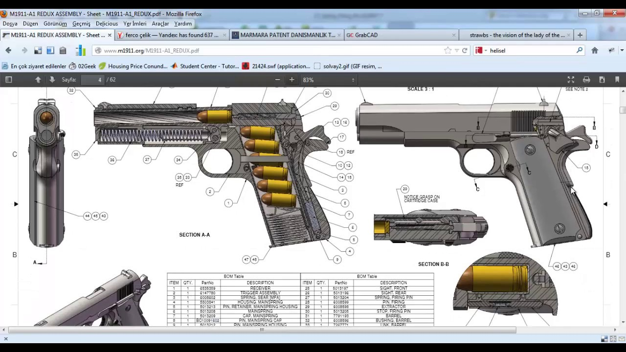 1280x720 Drawing Colt 1911 With Solidworks