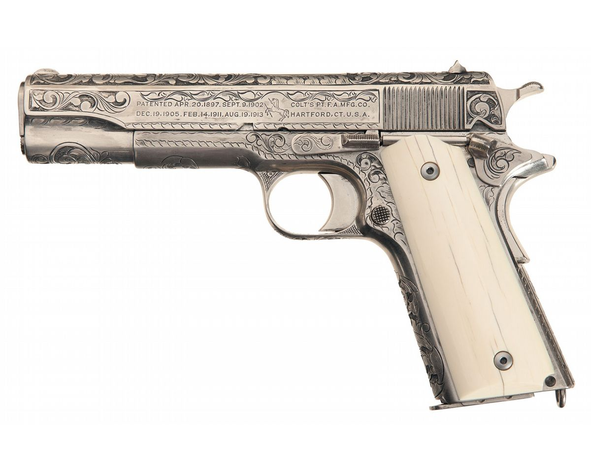1200x959 Engraved Colt Model 1911 Semi Automatic Pistol With Ivory Grips