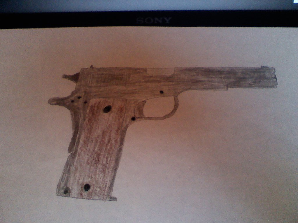 1024x768 M1911 Drawing By Falconpilot1