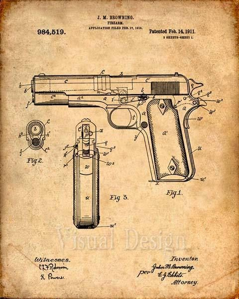 480x600 This Is A Print Of The Patent Drawing For A Colt M1911 (45 Caliber