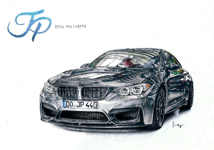 750x524 Bmw M4, Jp Performance, Drawing With Colour Pencils By Sindy'S