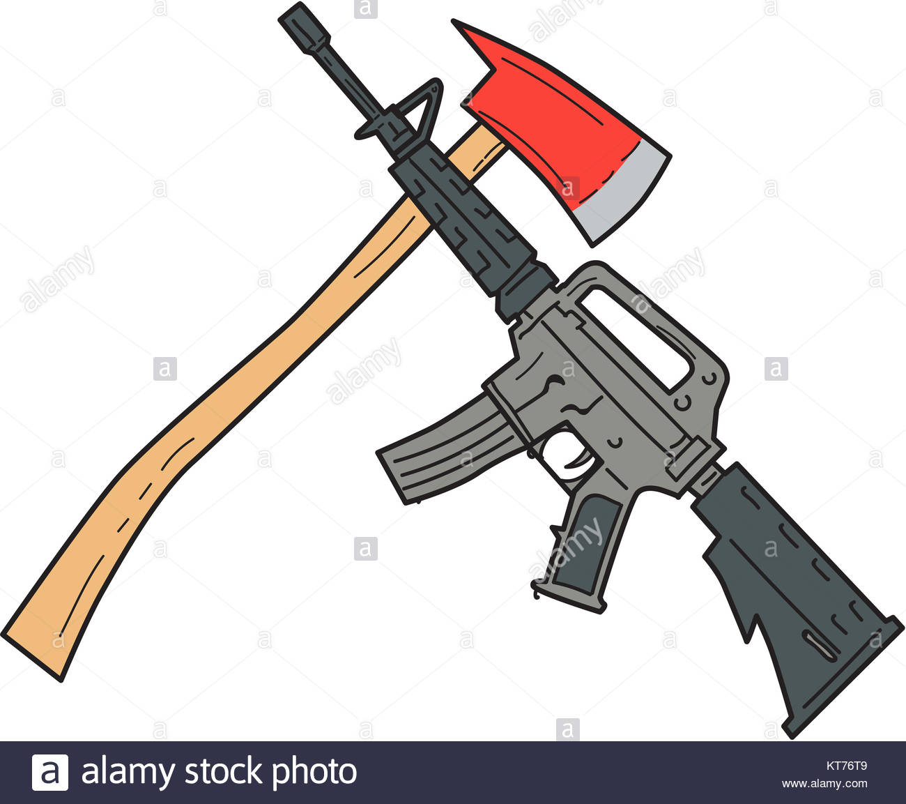 1300x1153 Crossed Fire Ax And M4 Carbine Rifle Drawing Stock Photo