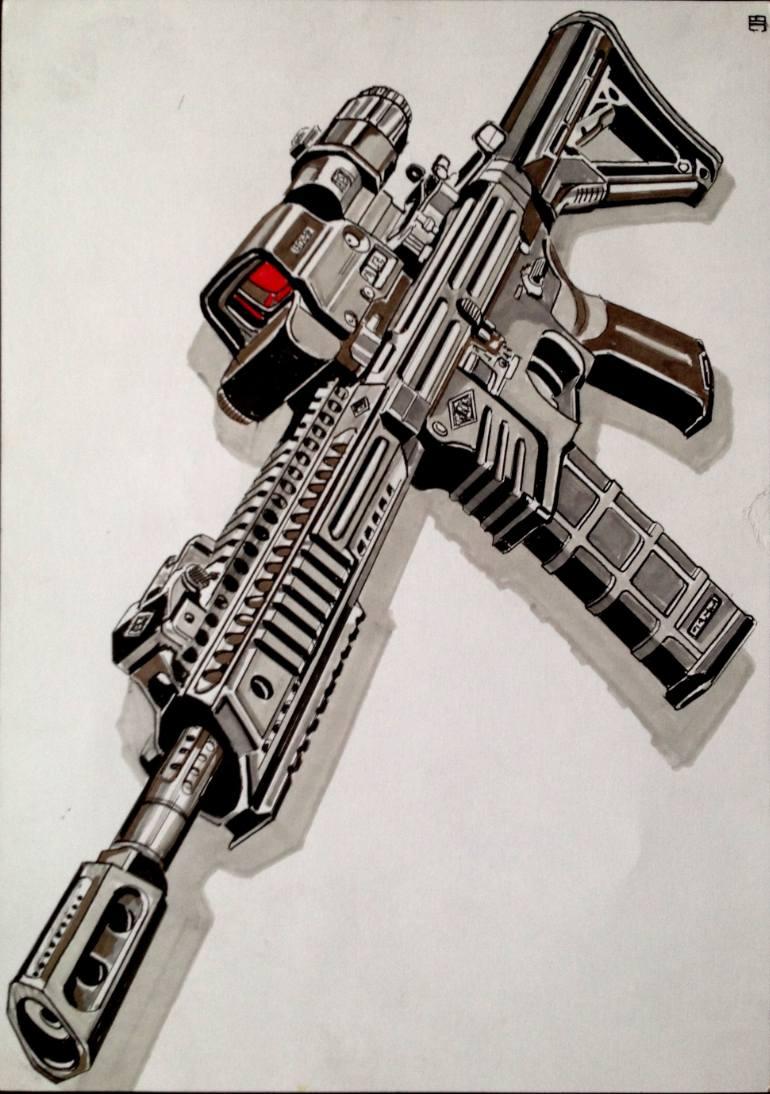 770x1094 Saatchi Art M4 Assaulr Rifle Drawing By Jan Basic