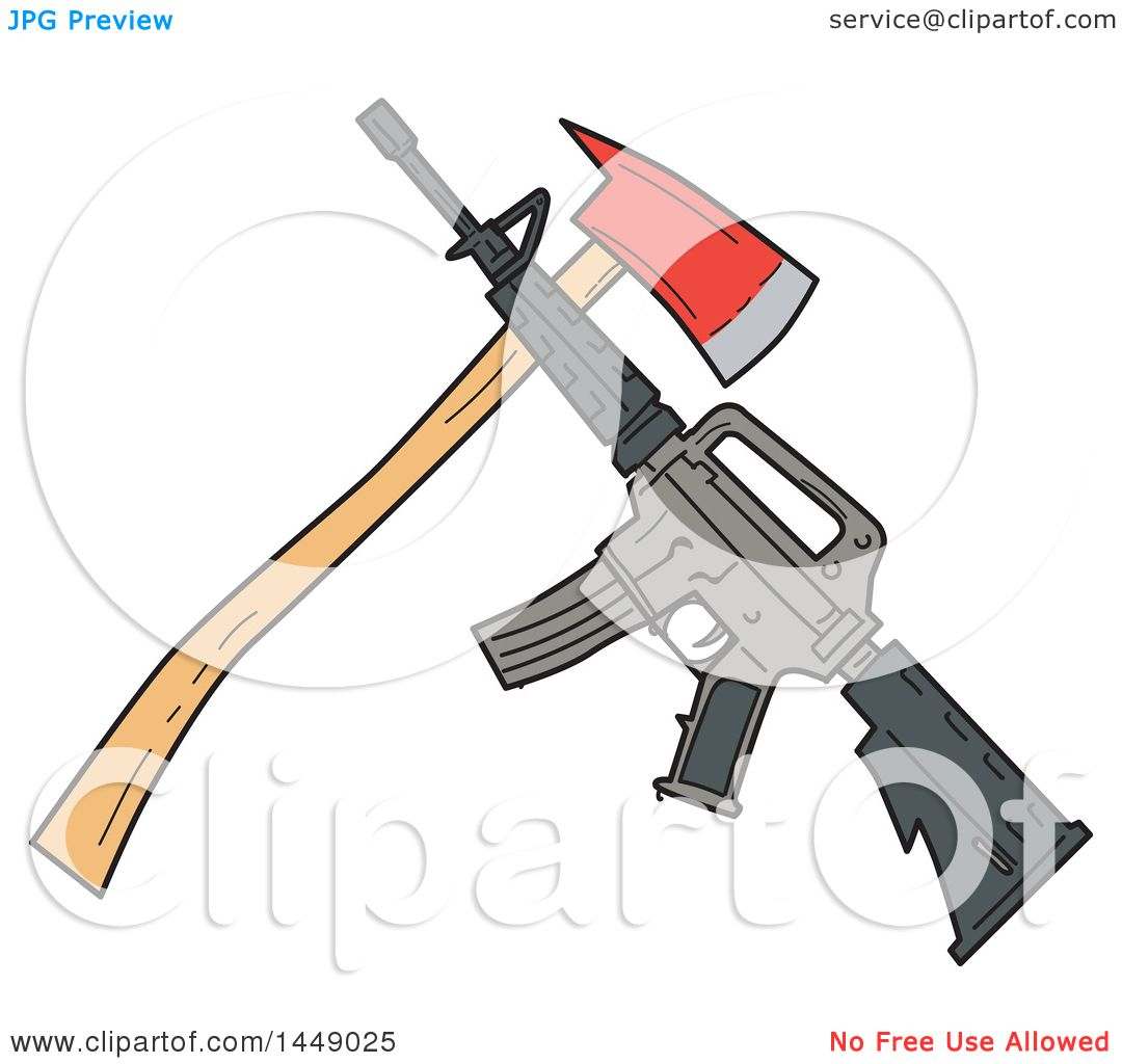 1080x1024 Clipart Graphic Of A Drawing Sketch Styled Crossed Fire Ax And M4