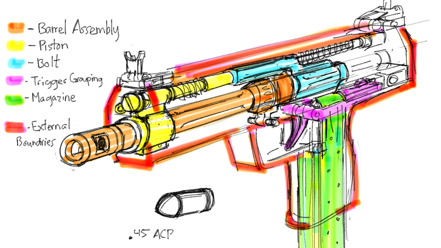 861x484 Draw A Machine Pistol's Internal. Made Up Parts And Gun On