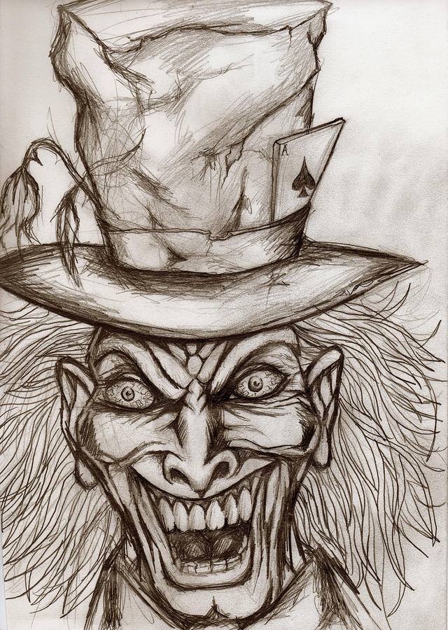 640x900 The Mad Hatter Drawing By Michael Mestas