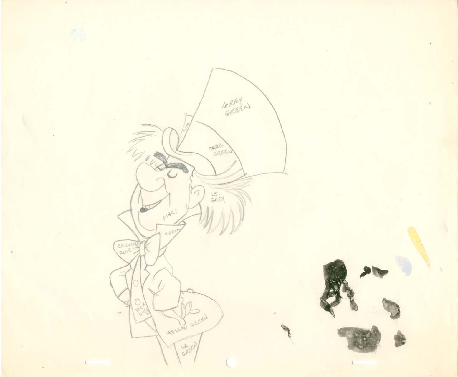 1555x1280 Vintage Disney Alice In Wonderland Mad Hatter Color Guide Drawing